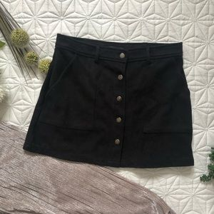 F21 Suede Black Mini Skirt with Buttons